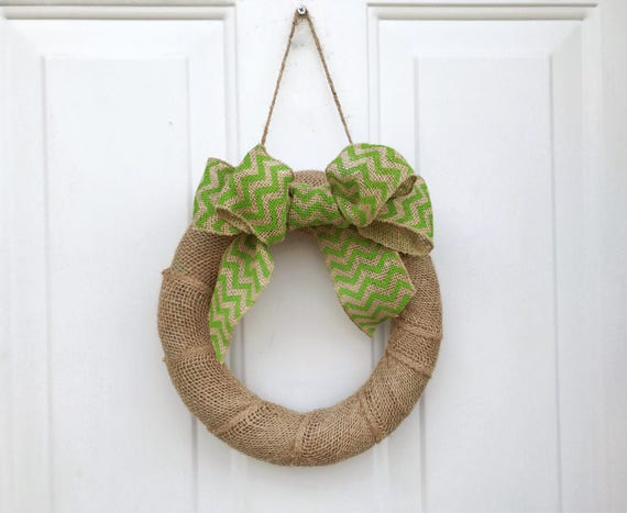 Brown Burlap Wrapped Wreath, Lime Green Chevron Bow, Rustic Door Decoration, Wedding Entryway Decor, Bridal Shower Decorations