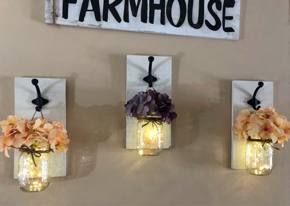 Set of 3 Mason Jar Wall Sconces, Farmhouse Sconce Wall Decor