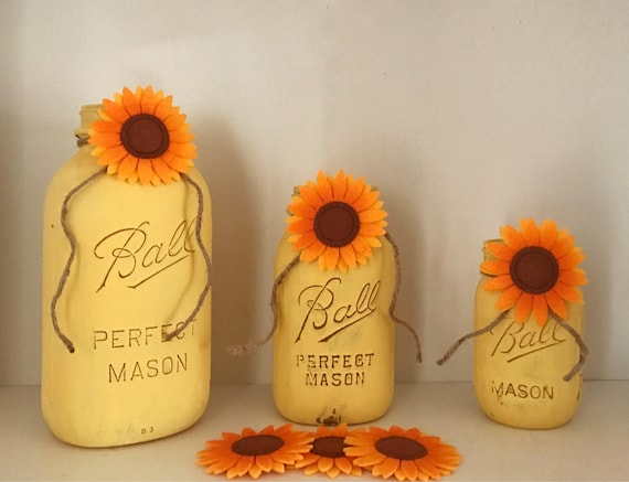 Sunflower Mason Jars Set of 3, Country Decor, Mason Jar Set, Unique Gifts, Mason Jar Decor, Painted Flower Vases, Sunflower Decor