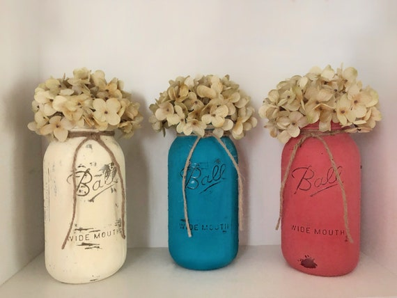 Set of 3 Large Half Gallon Mason Jars, Country Wedding Floral Centerpiece