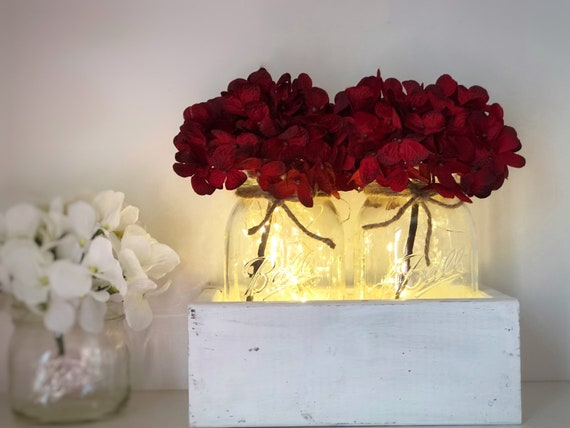Mason Jar Lighted Centerpiece, Spring Floral Arrangement