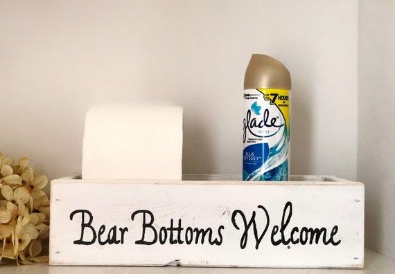 Bear Bottoms Welcome, Humourous Bathroom Decor, Toilet Paper Holder