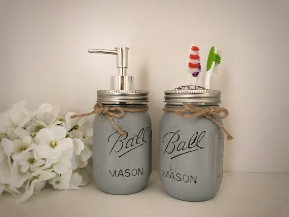2 Piece Bathroom Set, Mason Jar Soap Dispenser, Bathroom Sink Accessories, Toothbrush Holder, Hand Painted Gifts, Rustic Home Decor