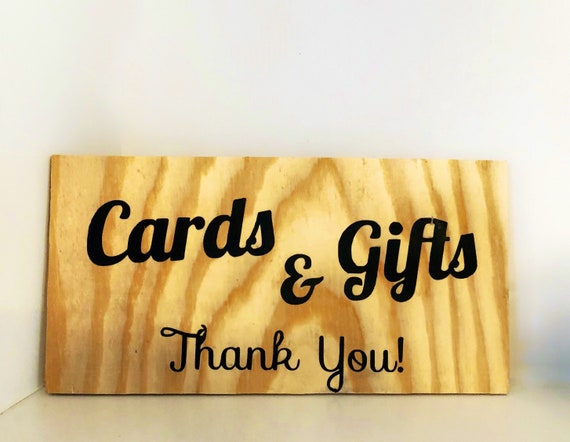 Rustic Cards and Gifts Wood Sign, Gift and Card Table Decoration