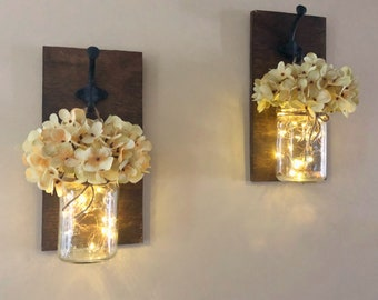 Rustic Mason Jar Sconces, Lighted Mason Jars, Fairy Lights, Artificial Hydrangeas, Country Home Decor, Bedroom Decor, Set of 2