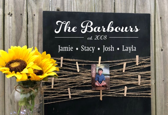 Personalized Family Name Sign, Clothesline Photos, Established Sign