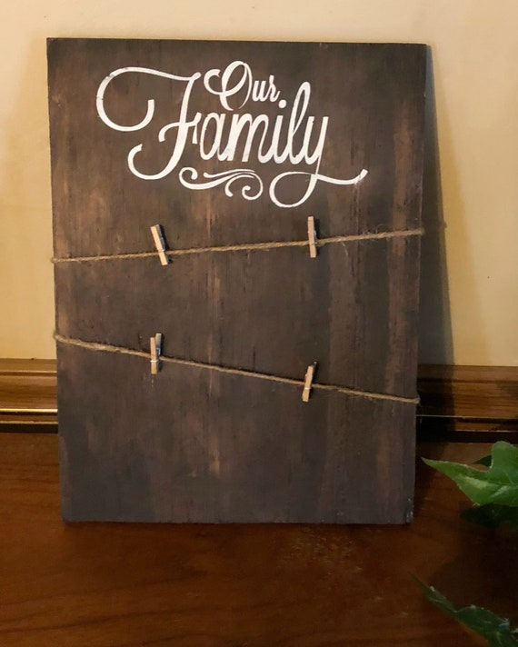 Our Family Clothesline Photo Holder, Rustic Picture Frame, Living Room Decor, 3x5 Photo Holder, Personalized Wood Frame