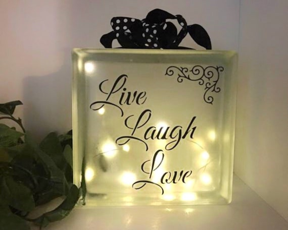 Live Laugh Love Lighted Glass Block