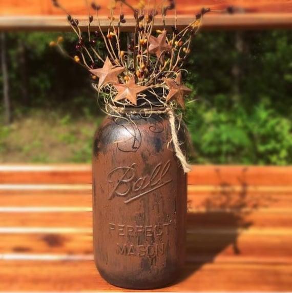 Primitive Mason Jar with Pip Berry Spray, Rusty Stars, Crackle Mason Jar, Kitchen Table Centerpiece, Half Gallon Jar, Rustic Prim Vase