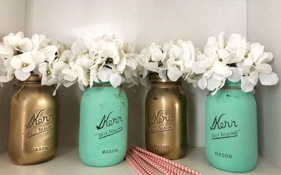 4 Piece Mason Jar Centerpieces, Mint and Gold Flower Holders, Spring Wedding Decor, Baby Shower Table Decor, Assorted Colored Vases