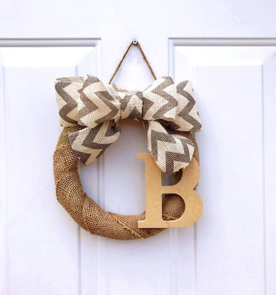 Small Burlap Wreath with Initial