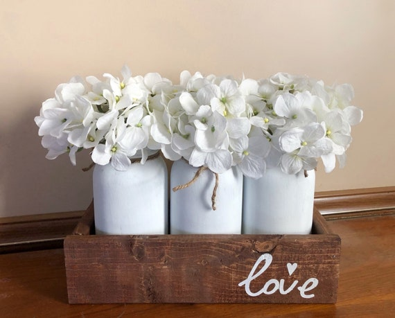 Love Mason Jar Arrangement, Rustic Bedroom Decor, Farmhouse Mantle Decoration