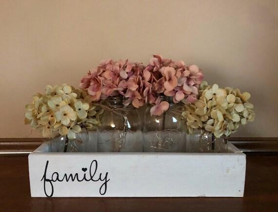 Family Farmhouse Lighted Mason Jar Centerpiece