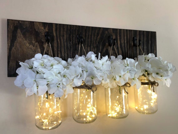 Hanging Wall Sconces, Rustic Mason Jar Sconce, Mason Jar Lights, 4 Lighted Jars