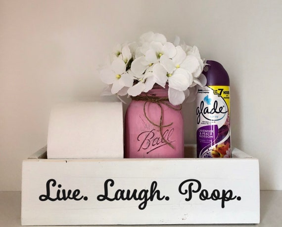 Live Laugh Poop Toilet Box, Rustic Bathroom Sign, Toilet Paper Holder, Hilarious Birthday Gift