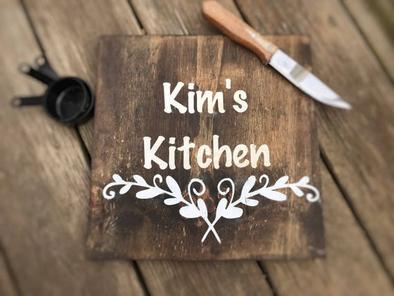 Personalized Kitchen Sign, Decorative Cutting Board, Rustic Wall Plaque, 12x12 inches
