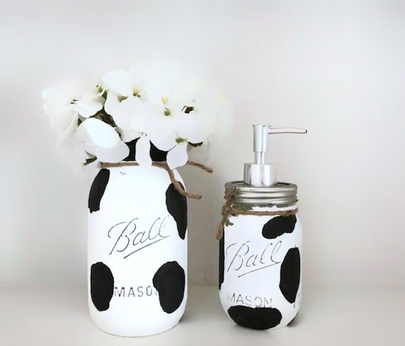 Cow Mason Jar Kitchen Decor, Set of 2