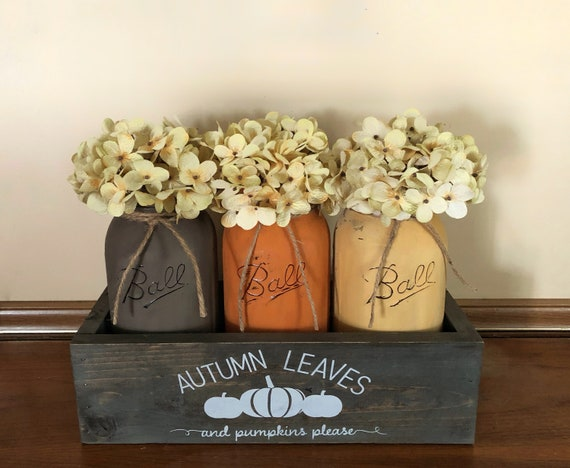 Autumn Leaves and Pumpkins Please Mason Jar Centerpiece