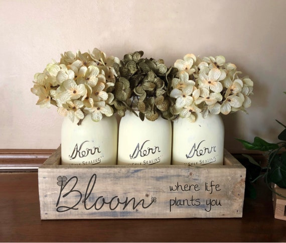 Bloom Where Life Plants You Mason Jar Centerpiece, Rustic Spring Decorations, Gardening Gift