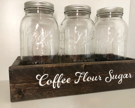 Coffee Flour Sugar Mason Jar Canister Set