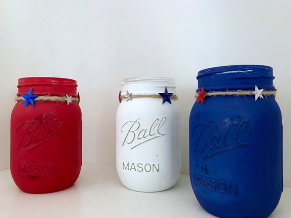 Patriotic Mason Jars, Set of 3