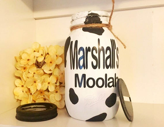 Personalized Moolah Piggy Bank, Cow Mason Jar Piggy Bank