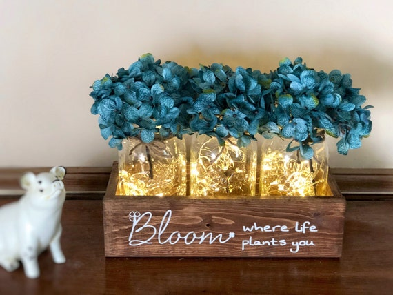 Bloom Where You Are Planted Lighted Mason Jar Centerpiece, Choose Your Flowers