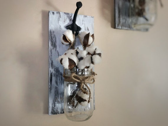 Single Cotton Stem Mason Jar Sconce