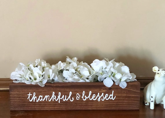Thankful and Blessed Wood Box, 16 inch Planter Box, Hydrangea Centerpiece, Wood Box for Flowers