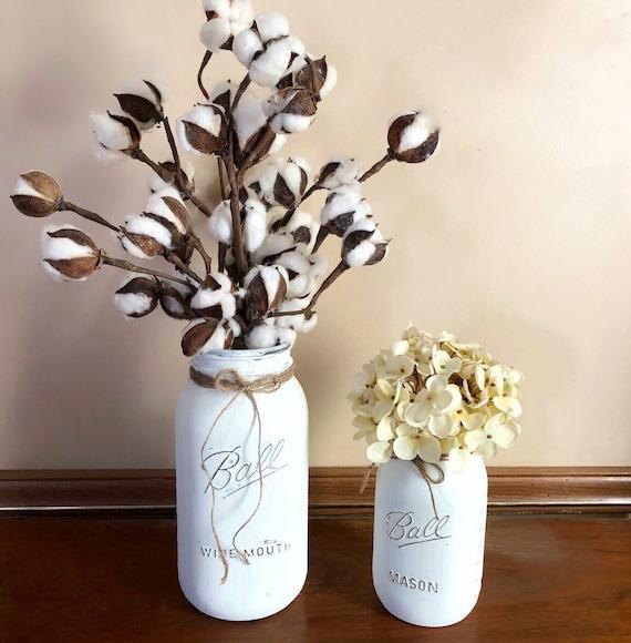 Cotton Stem Mason Jar and Hydrangea Mason Jar, Set of Two