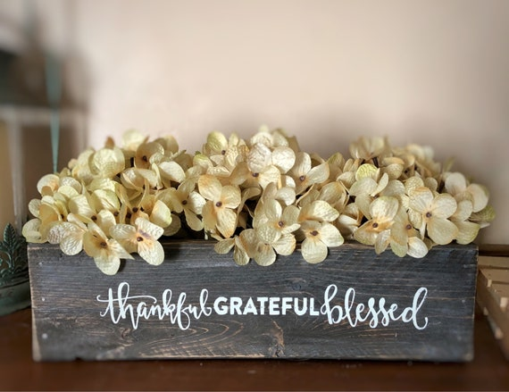 Thankful Grateful Blessed Decorative Planter Box, Dinner Table Decorations, Mason Jar Box, Floral Table Decoration, Hydrangea Centerpiece
