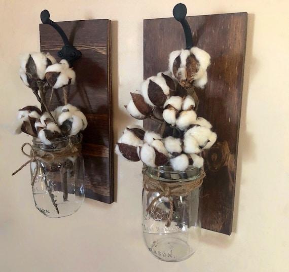 Cotton Stem Mason Jar Sconces, Set of 2