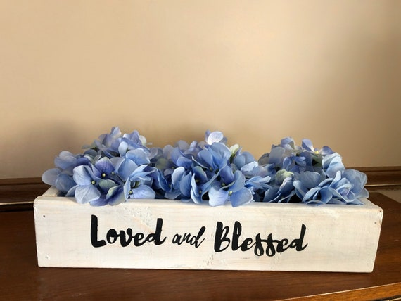 Loved and Blessed 16 inch Planter Box with Hydrangeas