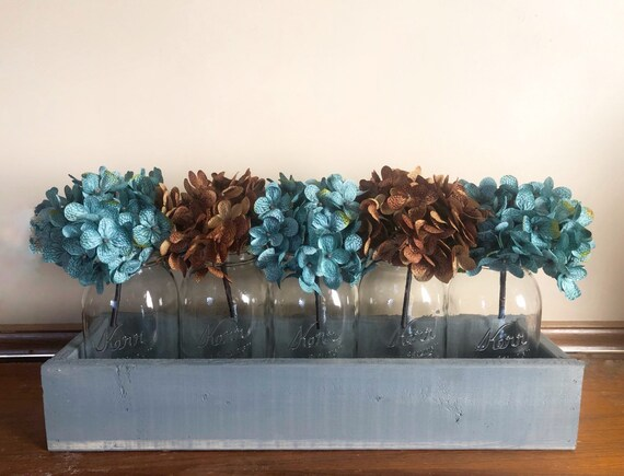 Extra Large Centerpiece for Dining Table, Mason Jar Centerpiece with Hydrangeas, 20 inch Planter Box