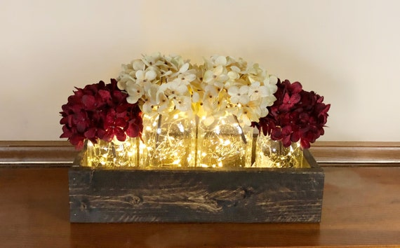 Rustic Fairy Lights Mason Jar Centerpiece with Hydrangeas