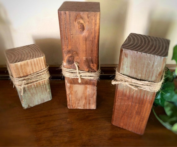 Rustic Wood Pillar Candle Holders, Set of 3