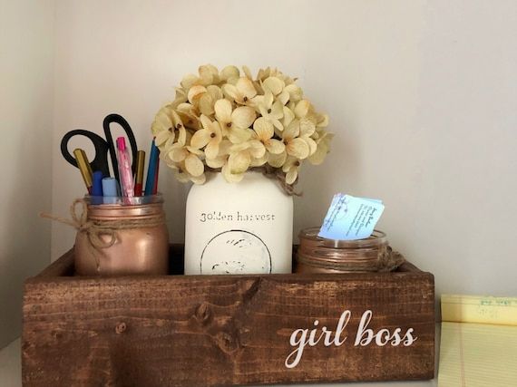 Girl Boss Mason Jar Desk Set, Wooden Desk Caddy, Girl Boss Decor, Mason Jar Office Organizer, Administrative Professionals Gift