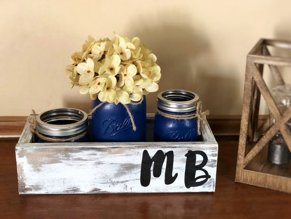Personalized Mason Jar Desk Set, Mason Jar Office Organizer