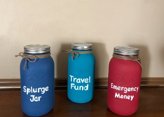 Savings Mason Jar Piggy Bank, Travel Funds, Emergency Money, Splurge Jar