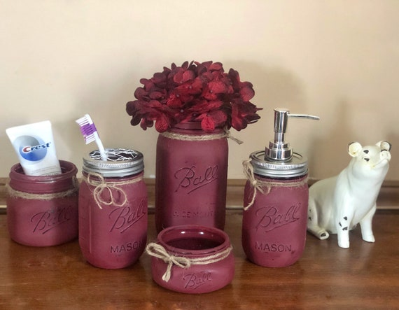 Burgundy Bathroom Accessories, Mason Jar Bathroom Set, 5 Pieces
