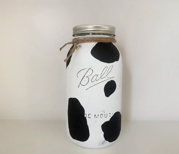 Cow Piggy Bank, Painted Mason Jar, Money Bank, Black Penny Jar, Coin Bank, Farmhouse Decor, Unique Rustic Gift, Mason Jar Decor