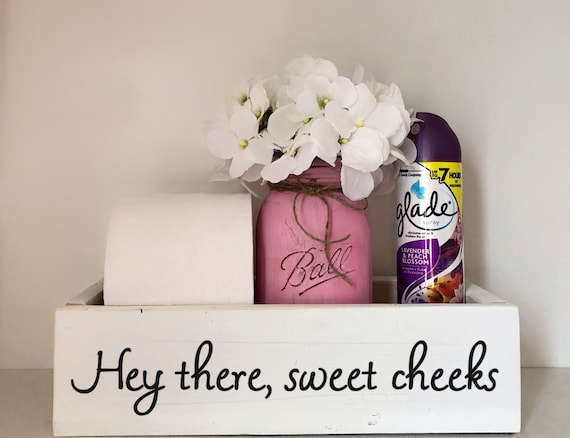 Hey There Sweet Cheeks Toilet Box, Rustic Bathroom Decor