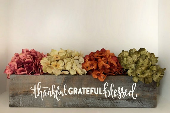 Thankful Grateful Blessed 16 inch Wood Planter Box