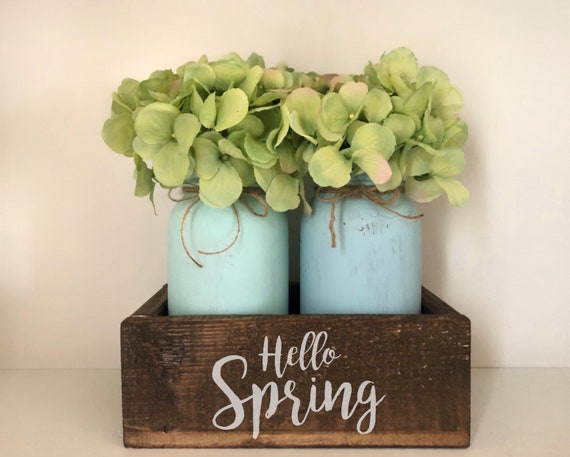 Hello Spring Mason Jar Centerpiece, Country Kitchen Decorations, Apple Green Decor, Rustic Spring Decor, Small Mason Jar Box