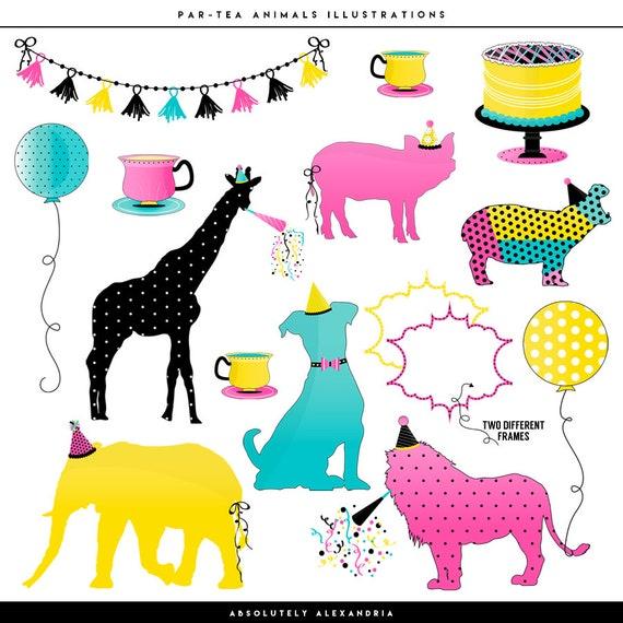 Par Tea Animals Digital Clipart Personal Commercial Use Zoo