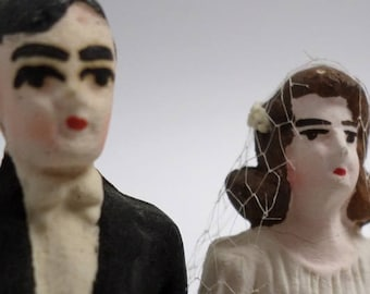 Vintage Bisque Deco Wedding Cake Topper -  Ships Free In US