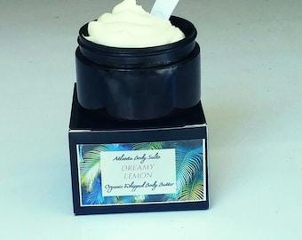 Dreamy Lemon Vanilla whipped body butter organic body butter vegan body butter organic whipped lotion