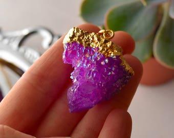 FREE SHIPPING Spirit Quartz Necklace, Purple Aura Spirit Quartz Crystal Necklace, Fairy Quartz Necklace , Cactus Quartz - 2
