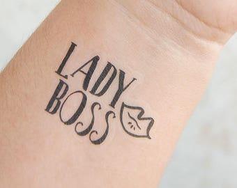 Lady Boss Tattoo - Temporary Tattoos - Boss Lady Gifts - Female Empowerment - Boss Babe - Feminist Tattoo - Girl Boss Tattoo - Gift for Her