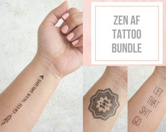 Zen Af Tattoo Bundle Mandala Tattoo Temporary Tattoo Quote Inspirational Temporary Tattoo Positive Inspiration Free Spirit Gifts